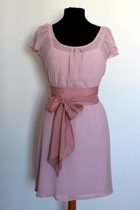 Bridesmaid Chiffon Pink Dress,  Wedding Guest, Flowergirl Dress,  Ready made, Custom Length, Custom Belt, Fully Lined