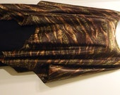 Poncho - Random Stripes of Animal Prints on Chocolate Satin with Gold Shimmer