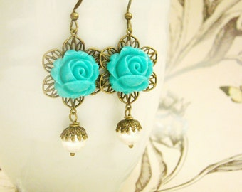 Vintage gothic style turquoise rose cabochon swarovski pearls nickel free earrings, wedding, bridemaid earrings, maid of honor, for wife