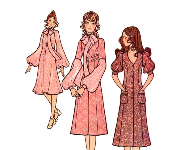 1970s Dress and Coatdress Pattern Long Torso Drop Waist Lantern Sleeves Princess Seams McCalls 2746 Jr Bust 32 Vintage Sewing Pattern