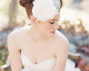 Fascinator, Wedding, Bridal Headpiece, Bridal Hat, Pearls, Silk Flower, Floral, Crystals - Style 214