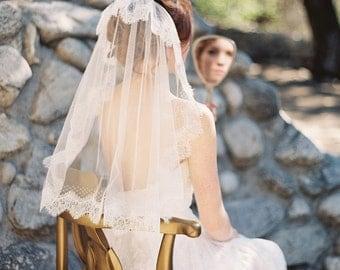 Wedding Veil, Lace, French netting, Tulle, Ivory - Style 216