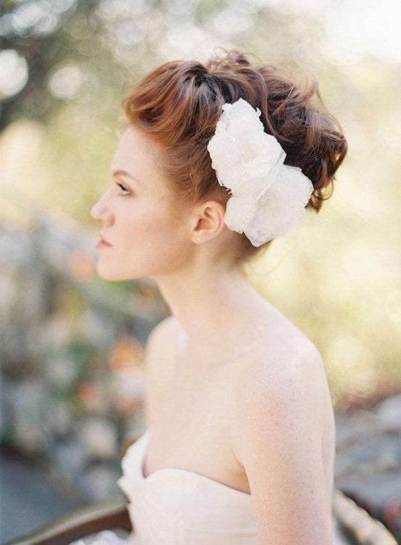 Wedding, Bridal Hair piece, Fascinator, Headpiece, Floral, Lace - Style 207