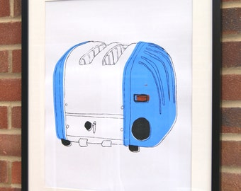 A2 Silk Screen Print of Classic Toaster in Blue