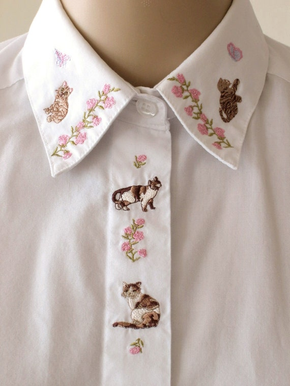 Embroidered Cat Collar Shirt Floral Embroidery White Blouse