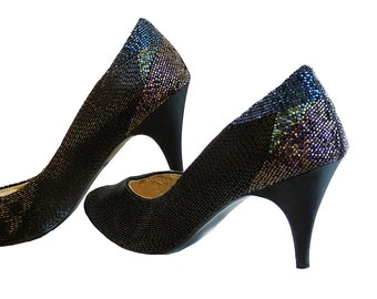 Vintage 80s Black All Glass Beaded Evening Shoes // Size 8M // Stunning Heel Design // Perfect LBD Holiday or Special Occasion 3 inch Heels