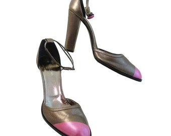 Bronze High Heel w Bright Pink // Calvin Klein Collection Italy // Ankle Strap w Button // Size 10M // 4 Inch Heel // Leather High Fashion