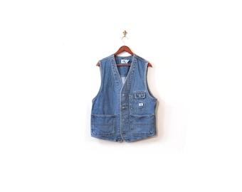 Vintage 90s Oversized Unisex CK Calvin Klein Grunge Reival Blue Button Up Denim Vest m l xl
