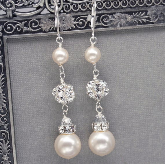 Long Pearl and Rhinestone Dangle Earrings, Bridal Wedding Jewelry, Ivory Pearl Drop Earrings, Swarovski Pearl Jewelry