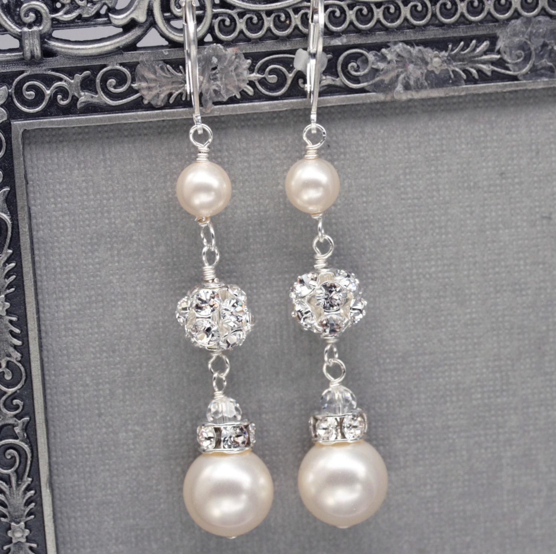 Ivory Pearl Earrings Wedding Ivory Pearl Drop Earrings