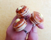 Polymer Clay Pancake Trio Ring Set Blueberry Chocolate Chip Buttermilk Statement Jewelry