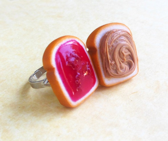 polymer clay strawberry jam peanut butter and jelly best friend rings bff polymer clay