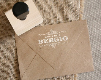 Custom Monogram Stamp - YOUR CUSTOM WORDING - Flourish