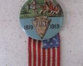 1919 Flint Centennial Pin Back Button, Souvenir