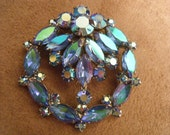 Blue Aurora Borealis Rhinestone Brooch Circle Awesome