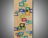 """11.25"""" x 25.25"""" - Original Abstract Art on Pine - Wood Burned and Colored with Prismacolor Pencils - Modern Home Decor -  """"Many Squares"""""""