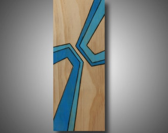 """Modern Abstract Art, Original Design Woodburned onto Pine and Colored with Prismacolor Pencil, """"Glare"""" 3.5"""" x 8.75"""""""