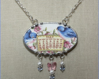 May 1921 Bluebird Calendar Plate Broken China Jewelry Necklace with Month, Bird and Roses