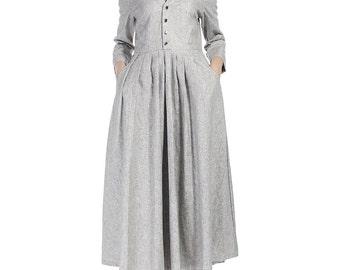 Light grey dress, linen dresses for women, shirt dress, handmade dress, vintage dress, casual dresses, midi dress, custom clothing (518)