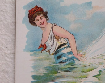 1910 Risque Bathing Beauty Postcard Edwardian Naughty Edwardian Bathing Suit Swimsuit Postally Unused