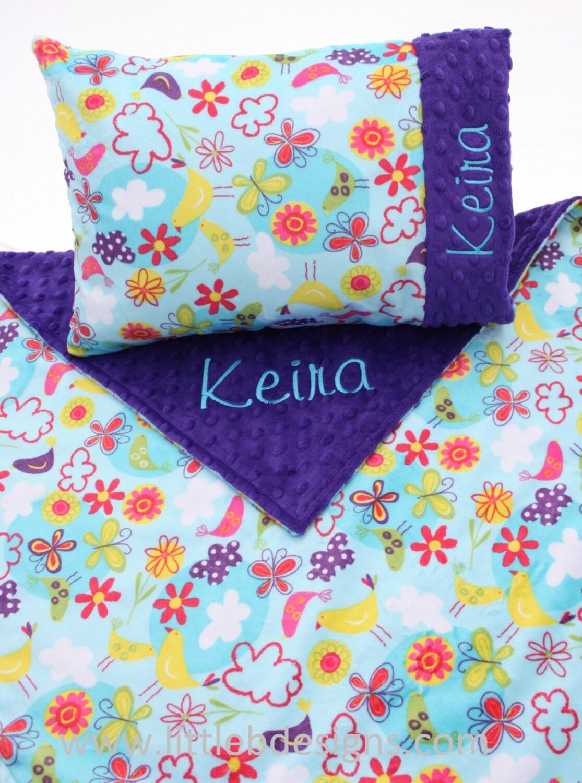 personalized blanket and toddler pillow set girl minky. Black Bedroom Furniture Sets. Home Design Ideas
