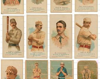 Collage Sheet Vintage Baseball Cards 101  Instant Digital Download