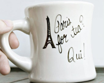 Paris Mug, Eiffel Tower, French, France, diner mug, Travel Gift, hand painted, tea lover, city, Europe, personalized, gift for her, unique