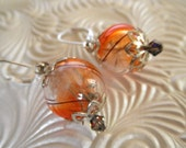 Orange,Clear,Brown Dandelion Seed Terrarium Reliquary Leverback Earrings-Symbolizes Happiness-Gifts Under 35-Nature's Art