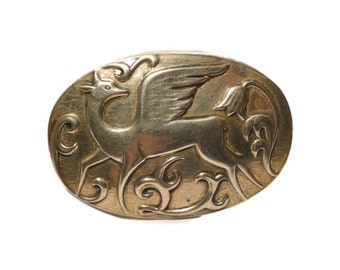Beautiful Winged Deer Sterling Silver Norseland Brooch. USA 1940s.