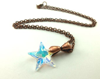 Crystal Star Necklace Copper Jewelry Beaded Galaxy Necklace Astral Star Jewelry Copper Necklace