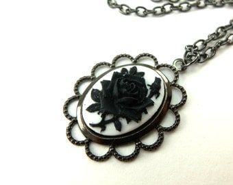 Black White Rose Cameo Necklace Gothic Jewelry Dark Silver Necklace Rose Jewelry