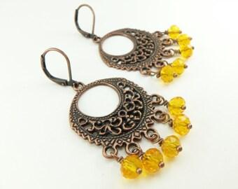 Yellow Chandelier Earrings Copper Earrings Yellow Jewelry Boho Style Filigree Yellow Orange