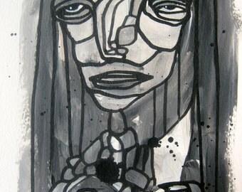 Mixed Media Art Abstract Painting Original Wall art series affordable Outsider art