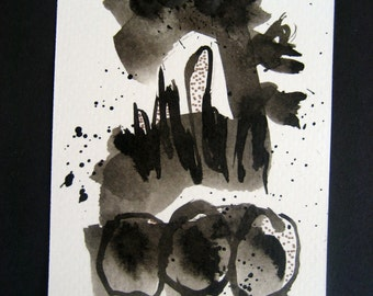 Art Painting Original Abstract Painting Black and White Modern Contemporary and Ink Painting 23 by Julie Steiner