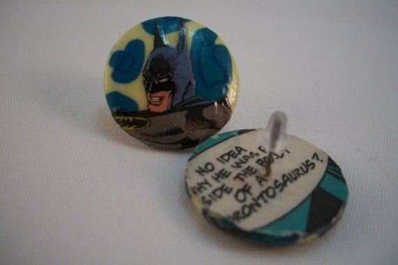 Batman Earrings - Dark Knight, Upcycled Vintage Comics, Button Style
