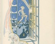 The Window Flew Open, Peter Breaks Through, Peter Pan Vintage Print 1931 J. M. Barrie, Gwynedd Hudson, Nursery Art Decor, Childrens Art