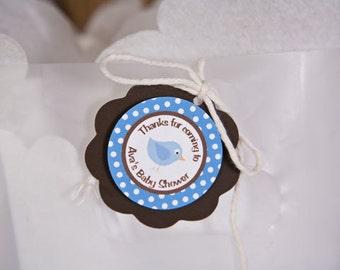 Lil Birdie Favor Tags, Baby Shower Decorations in Blue and Brown (12)