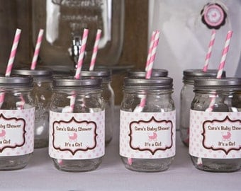 Water Bottle Labels - Pink Carriage Baby Shower Decorations - Pink & Brown It's a Girl Theme (12)