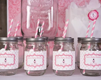 Ladybug Themed Water Bottle Labels - Ladybug Baby Shower Decorations in Hot & Light Pink (12)