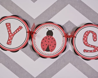 Ladybug Theme It's a Girl BABY SHOWER Banner Party Sign - Ladybug Baby Shower Decorations in Red & Black