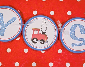 Train Themed BABY SHOWER Banner - Train Baby Shower Decorations in Red and Blue