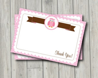Owl Thank You Note - Pink & Brown Owl Thank You Card - Digital Printable Thank You - Owl Theme