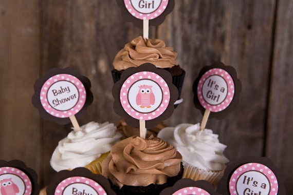 Pink Owl Theme Baby Shower Decorations - Owl Cupcake Toppers in Pink & Brown (12)