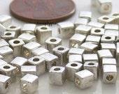 Shoji Silver, Cube Miyuki Shoji Beads 10-Grams 4mm Glass Squares