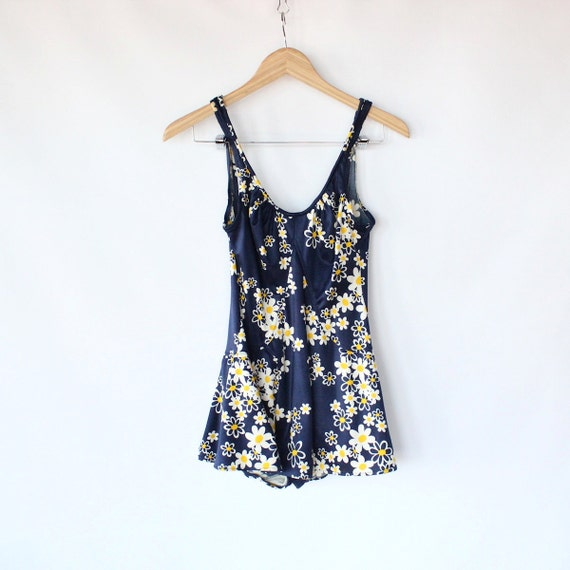 Vintage 60s Navy Daisy Print One Piece Swimsuit // Skirt Low Back Suit
