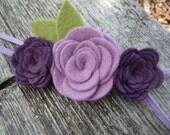 Wool Felt Flower Rosebud Trio - Lilac Lavender