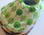 Small Bib in Green Trees with Spring Green Fleece Backing