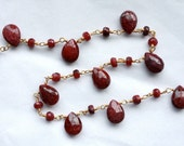 1 Foot Rich Ruby Faceted Tear Drop Gemstones on Gold Chain // Hand Wrapped // Edwardian Style