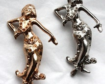 1 Vintage 1940s / 50s Pin Up Hula Girl Brooch // Gold or Silver Plated Base Metal // Rhinestone Setting