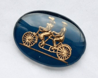 2 Rare Vintage 1940s / 1950s Glass Intaglio Cabochons // Daisy Bell - Bicycle Built For Two // Edwardian Couple